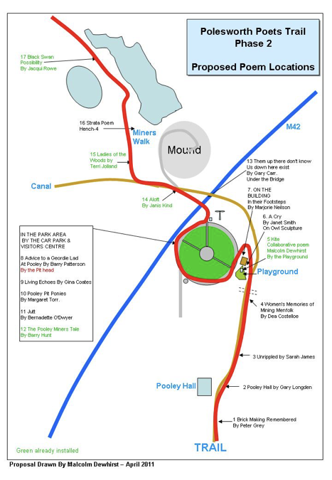 Map of proposed trail for phase two poems